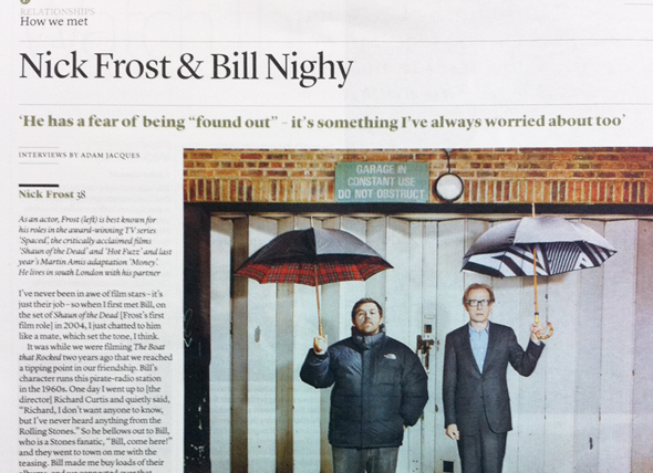 Bill Nighy and Nick Frost with London Undercover Umbrellas in The Independent on Sunday