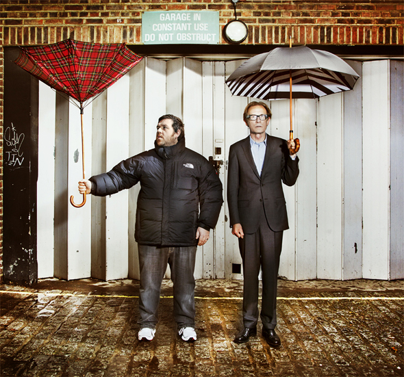 Bill Nighy and Nick Frost with London Undercover Umbrellas