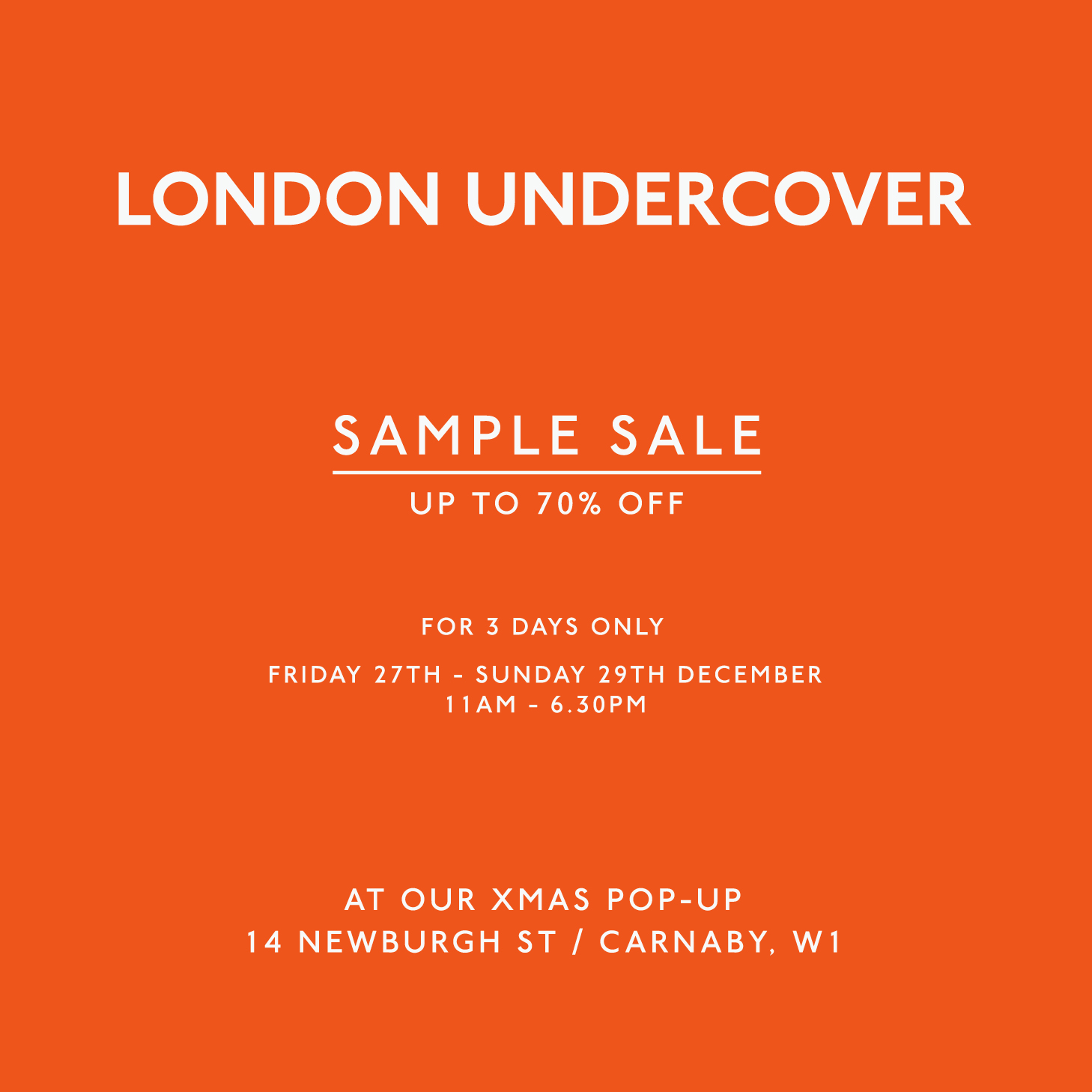 LONDON UNDERCOVER SAMPLE-SALE