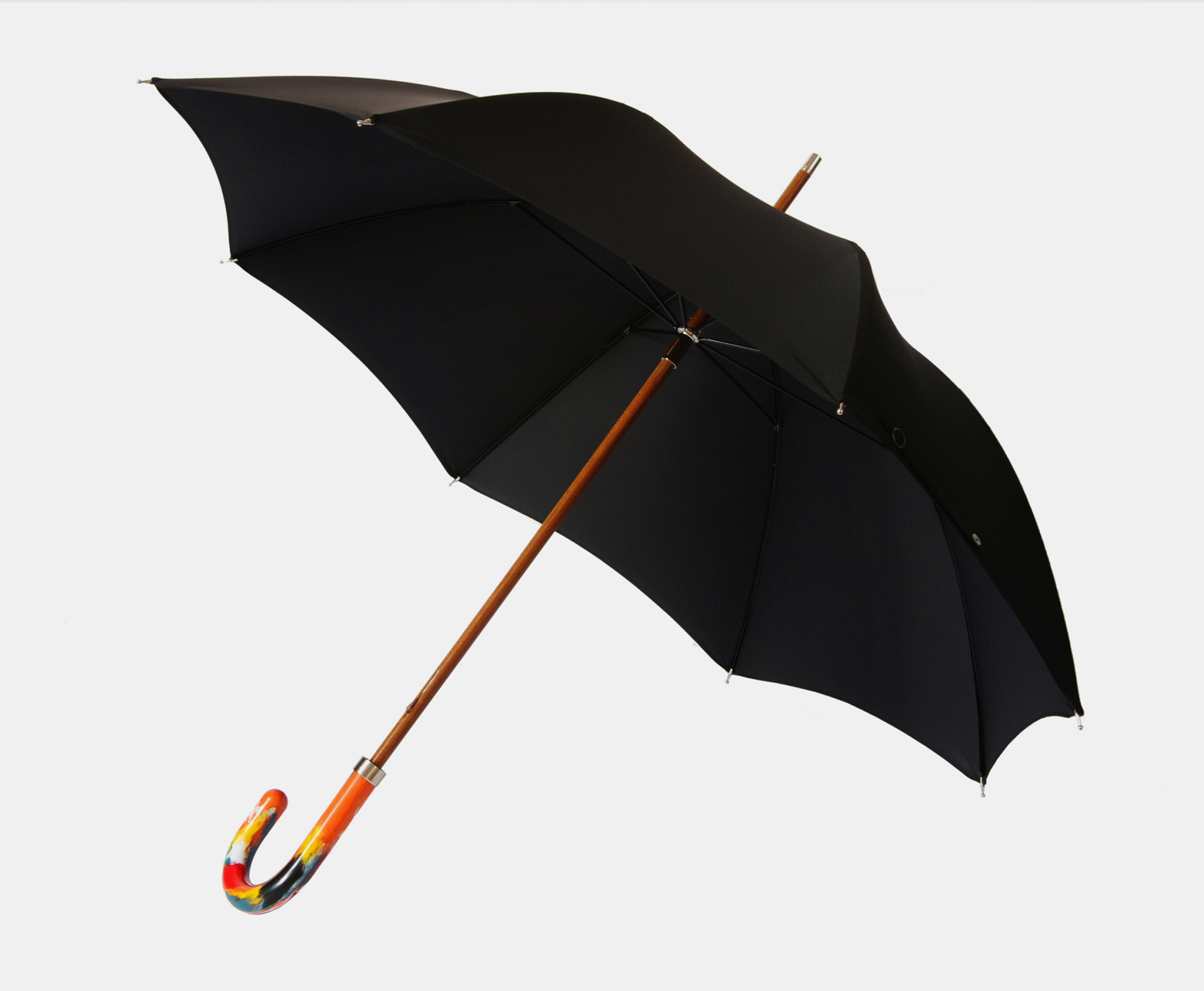 BLACK-MULTI-COLOURED-HANDLE-UMBRELLA